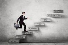 L'entrepreneur masculin fait un pas sur des escaliers avec le texte d'analyse Photo stock