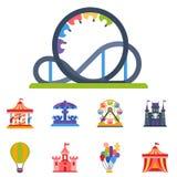 L'entresort de parc d'attraction d'amusement de carrousels badine l'illustration extérieure de vecteur de construction de diverti illustration stock