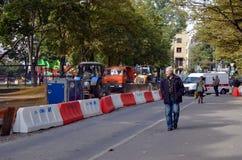 L'entretien des routes fonctionne à St Petersburg Photographie stock