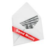 L'enveloppe avec des dollars Billls et envoient le signe d'argent Images stock