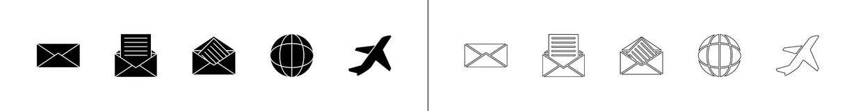 l'enveloppe, lettre d'enveloppe, icônes de la terre et d'avions dans le glyph et la ligne styles illustration stock