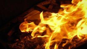 L'enveloppe a mis dans le feu et des brûlures banque de vidéos