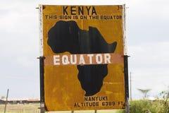 L'Equatore firma dentro il Kenia Immagini Stock