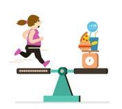 L'equilibrio corrente della ragazza grassa con alimento è sopra le calorie illustrazione di stock