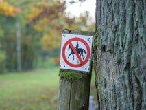L'equitazione proibita o severa firma dentro nero, bianco, rosso in foresta vicino a Berlino, Germania fotografie stock libere da diritti