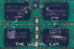 L'era digitale: documenti di esame e carta di tornitura nei dati Immagini Stock