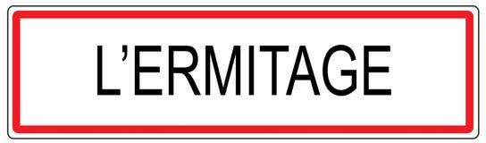 L Ermitage-Stadt-Verkehrszeichenillustration in Frankreich Lizenzfreies Stockfoto