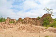 L'erosione del suolo di pioggia e di vento ha chiamato il Na Noi, Nan di Sao Din fotografie stock