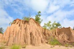 L'erosione del suolo di pioggia e di vento ha chiamato il Na Noi, Nan Distric di Sao Din fotografie stock