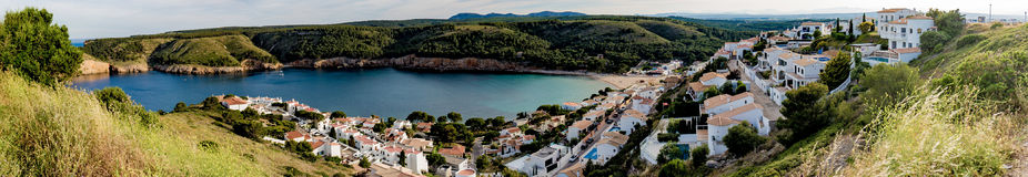 L`Escala and bay panorama view from top of hill. Large bay between rocky hills in Catalonia Stock Photography