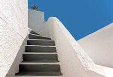 L'escalier chez Imerovigli, Santorini, Grèce Photographie stock libre de droits