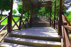 L'escalier en bois amenant à Canakkale Martyrs le mémorial Photographie stock libre de droits