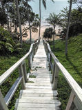 L'escalier en bois vers le bas au beau et détendent la plage sablonneuse Photos stock