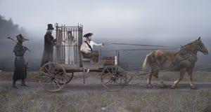 L'escorte de garde, de cocher et de docteur de peste la sorcière arrêtée Cage pour le transport des prisonniers image stock
