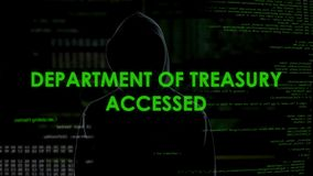 L'escroc informatique obtient l'accès au département du trésor, blanchiment d'argent banque de vidéos
