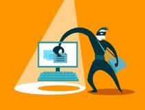 L'escroc vole des données Images libres de droits