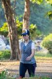 L'esercizio corrente della gente per salute nel parco di BangYai, non fotografie stock libere da diritti
