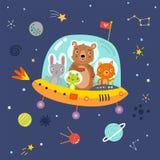 l'espace animaux sur un vaisseau spatial illustration libre de droits