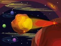 L'espace avec la scène volante en forme d'étoile d'univers illustration libre de droits