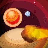 L'espace avec la scène volante en forme d'étoile d'univers illustration stock