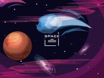 L'espace avec trouble la scène d'univers de planète illustration stock