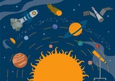 L'espace, conception graphique d'univers Bannières, layot, calibres d'insecte Image libre de droits