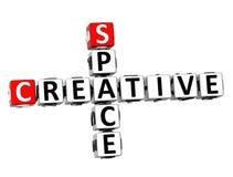 l'espace créatif des mots croisé 3D sur le fond blanc Images stock