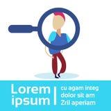 L'espace de agrandissement de copie d'isolement par personnage de dessin animé en verre de recrutement de concept de candidat d'h illustration libre de droits