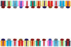L'espace de copie de copyspace de cadeaux de Noël de cadeaux de carte d'anniversaire d'isolement sur le fond blanc photos stock