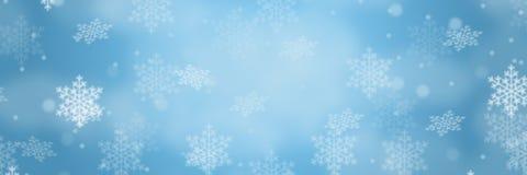 L'espace de copie de copyspace de flocons de neige de neige de modèle d'hiver de frontière de bannière de fond de Noël photographie stock