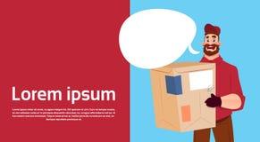 L'espace de copie de bannière de service de courrier de paquet de la livraison de Man Hold Box de messager illustration stock