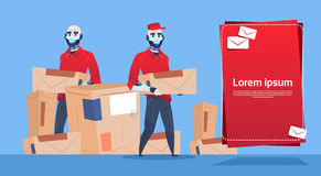 L'espace de copie de bannière de service de Robots Carry Box Delivery Package Post de messager illustration stock