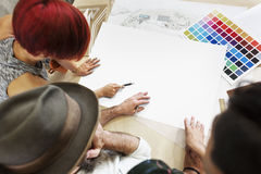 L'espace de copie de Creative Occupation Blueprint d'architecte de studio de conception Photos libres de droits