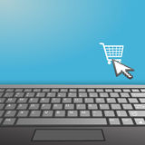 L'espace de copie de graphisme d'achat d'Internet de clavier d'ordinateur portatif Images stock