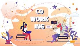 L'espace de Coworking avec la ouvrière à distance de personnes créatives illustration stock