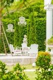 L'espace de détente dans le jardin confortable Photo stock