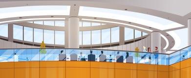 L'espace de fonctionnement moderne d'immeuble de bureaux de centre d'affaires rencontrant Hall Interior Photos libres de droits