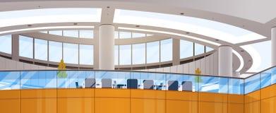 L'espace de fonctionnement moderne d'immeuble de bureaux de centre d'affaires rencontrant Hall Interior Photos stock