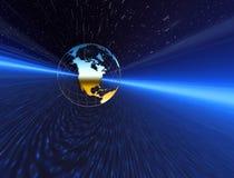 L'espace de nuit. Planète bleue Image stock