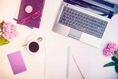 L'espace de travail avec l'ordinateur portable, le carnet, le carnet à dessins, les verres, la tasse de café et la glycine fleuri Photographie stock libre de droits