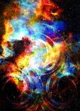 L'espace et étoiles cosmiques avec le cercle léger photos libres de droits