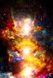 L'espace et les étoiles cosmiques, colorent le fond abstrait cosmique Effet de feu en espace illustration stock