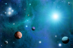 L'espace et planètes illustration stock