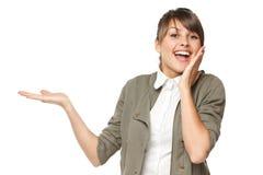 L'espace femelle Excited de copie de blanc de fixation sur la paume Image stock