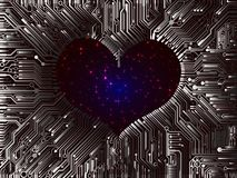 L'espace futuriste Valentine a posé des unités informatiques avec des vues de Images stock