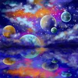 L'espace, galaxies et planètes dans l'espace d'étoile illustration de vecteur