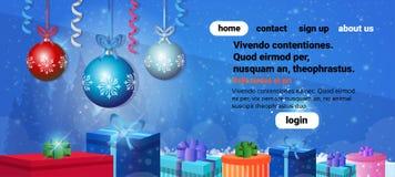 L'espace horizontal plat de copie de bannière de décoration de boîte-cadeau de boules de vacances de concept de Joyeux Noël de bo illustration libre de droits