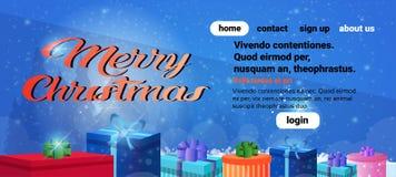 L'espace horizontal plat de copie de bannière de décoration de boîte-cadeau de concept de Joyeux Noël de bonne année illustration stock