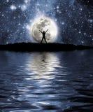 L'espace, lune et homme Photographie stock