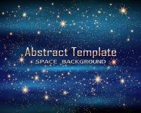 L'espace magique Infini féerique de la poussière Fond abstrait d'univers Gog bleu et étoiles brillantes Illustration de vecteur illustration stock